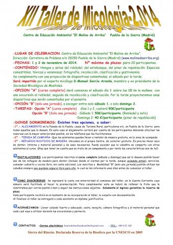 Cartel XII Taller de micología 2014