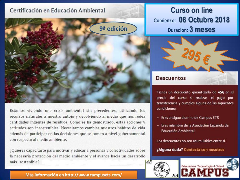 Publicidad Certificación en educación ambiental 08 octubre 2018