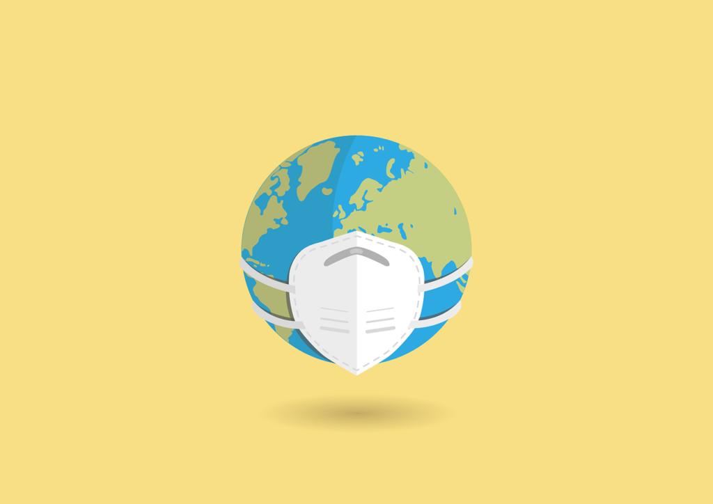 El planeta Tierra con mascarilla